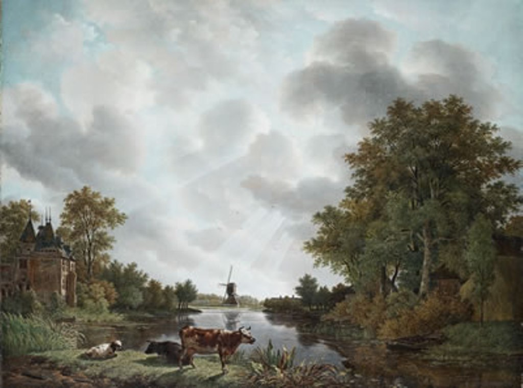 Koogh-Dutch-riverlandscape-with-castle-and-windmill