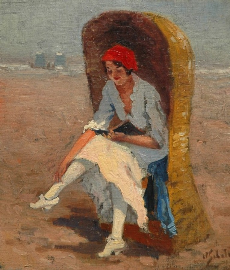 Schotel-Anthonie-Reading-pleasure-on-the-beach