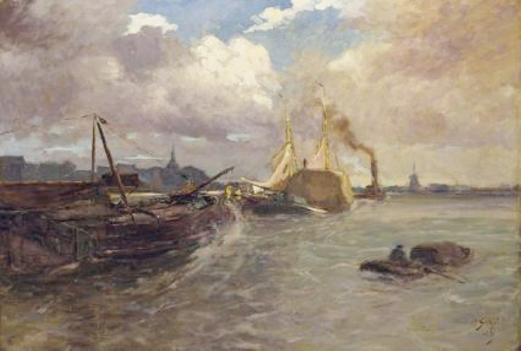 Schotel-Anthonie-Ships-on-the-river-at-dordrecht