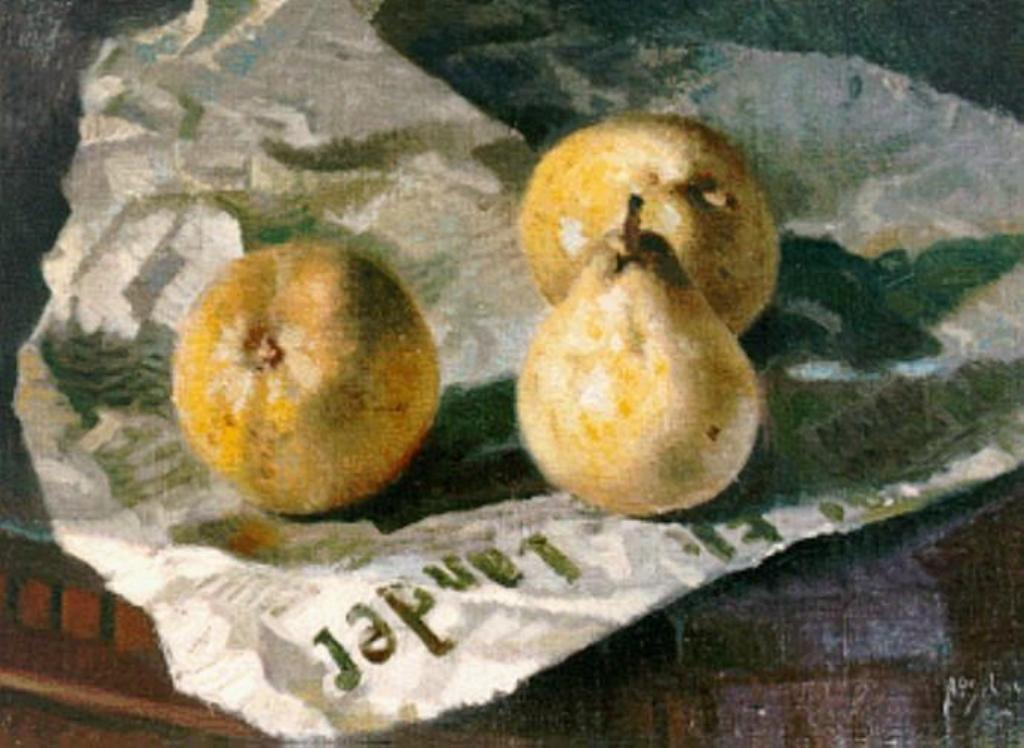 Schotel-Anthonie-Stillife-of-three-pears-on-a-Gooi-and-Eemlander-Newspaper