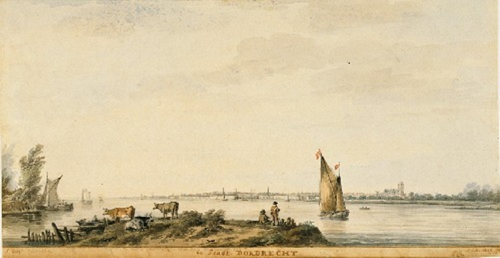 Schouman-Aert-View-at-dordrecht-made-like-aelbert-cuyp-in-1647