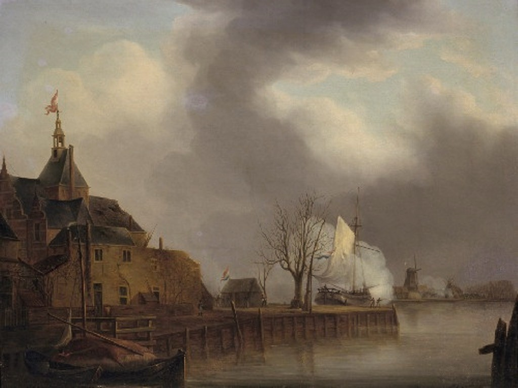 Schouman-Martinus-The-last-shot-fired-from-Dordrecht-at-the-French-at-Papendrecht