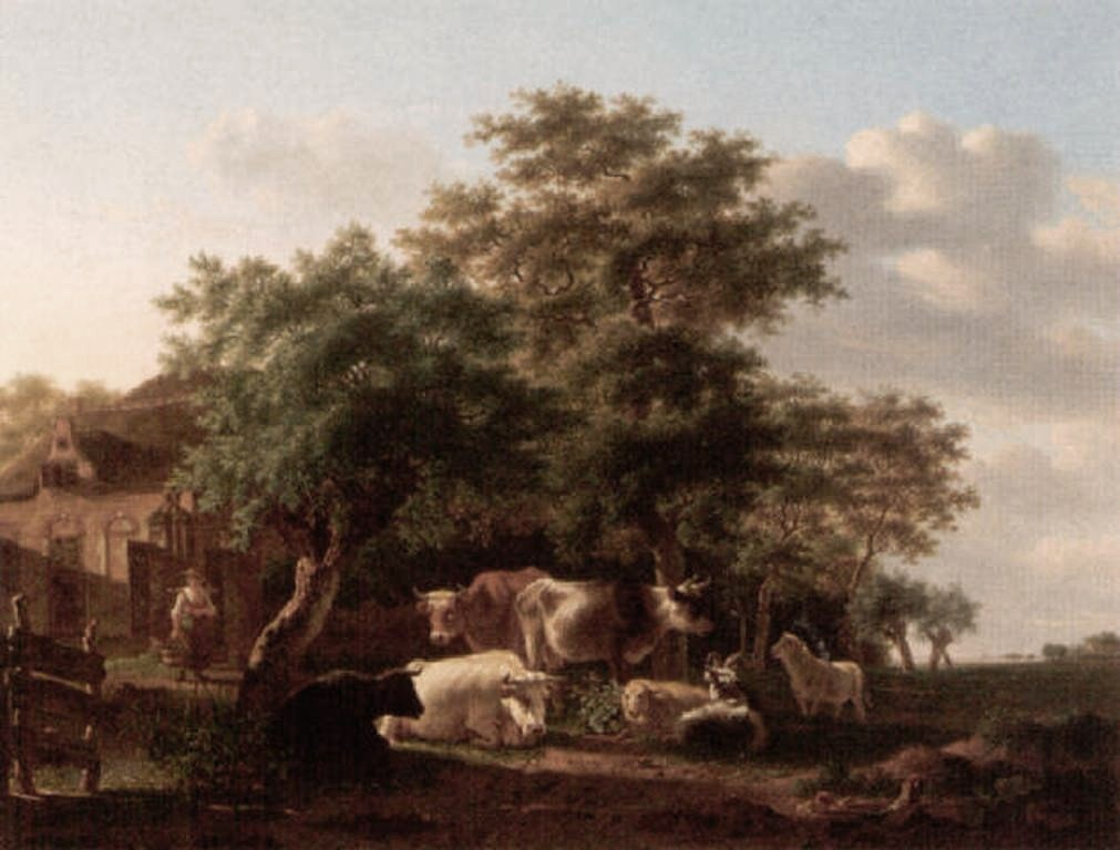 Smak-A-pastoral-landscape-with-a-milkmaid-and-livestock-outside-a-farm-house