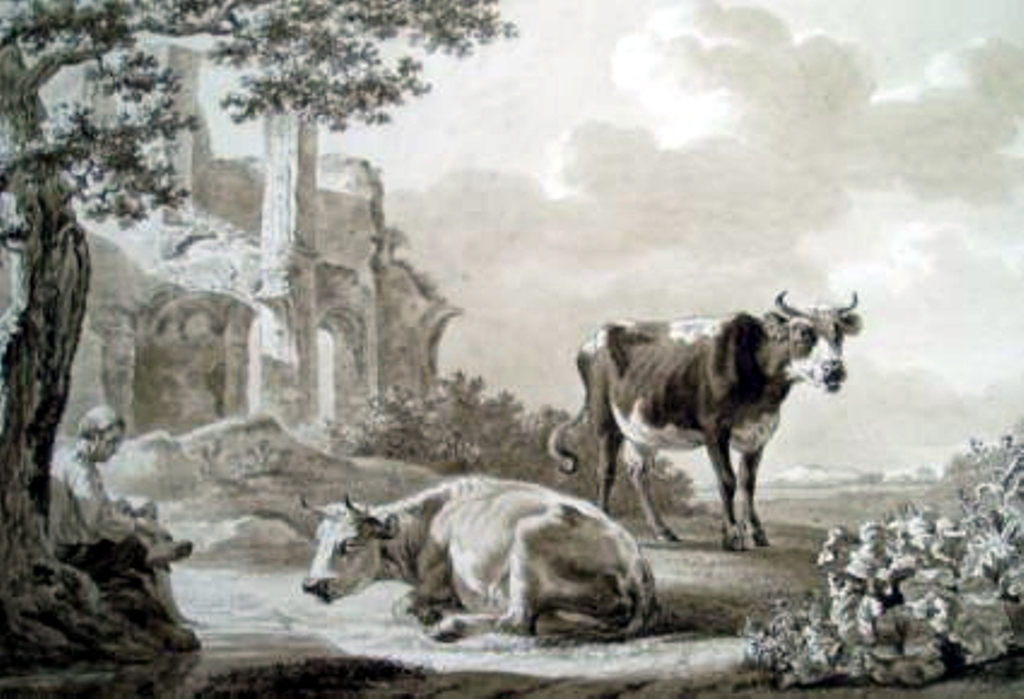 Smak-Landscape-with-cows-near-the-ruins-of-the-abbey-of-rijnsburg